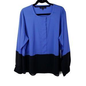 Eloquii Blue & Black Long Sleeve Blouse Plus Sz 22